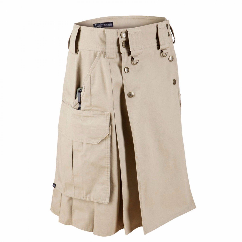 New Tactical Men,s Duty Kilt Cargo Uniform Battle Khaki Utility kilt Size 32