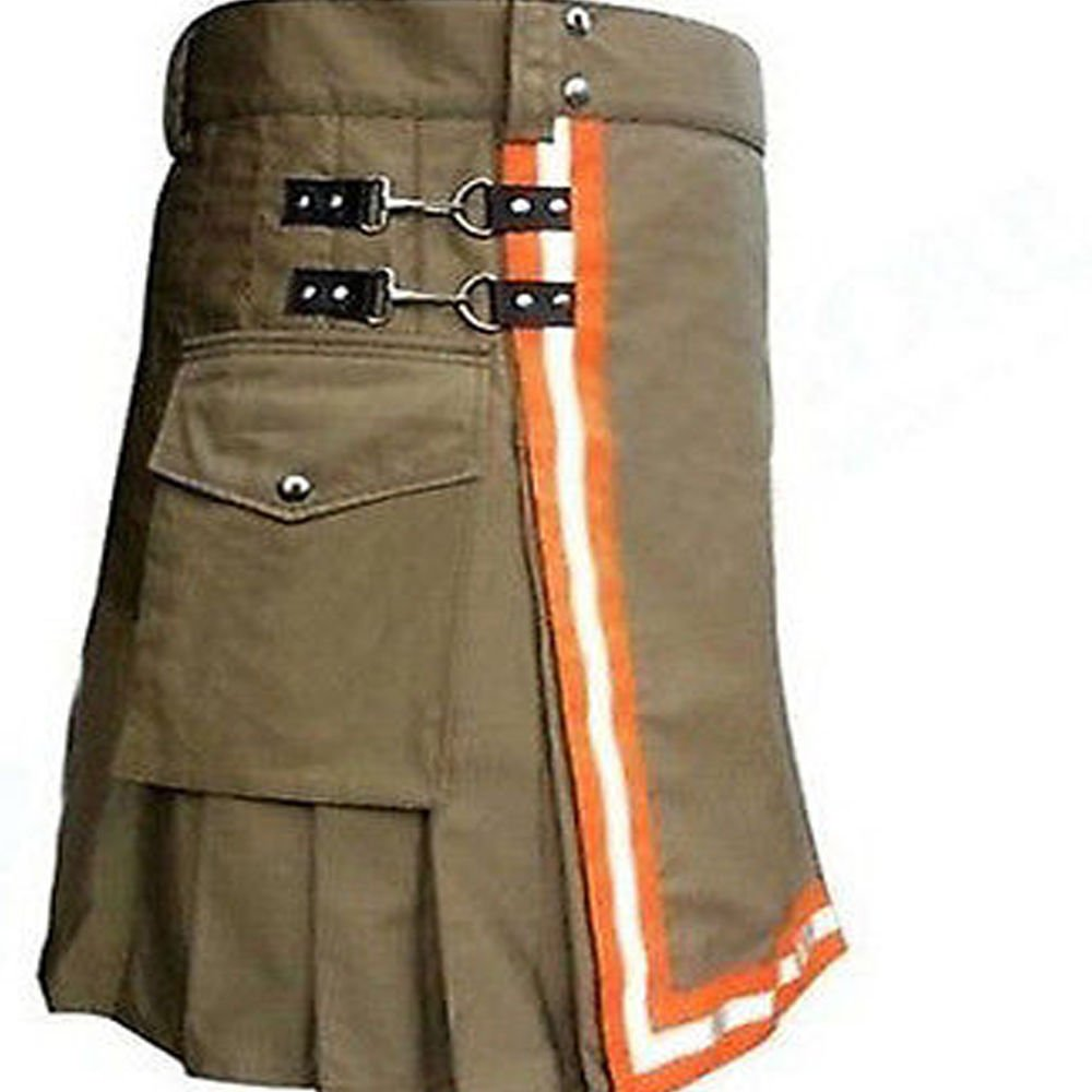 Firefighter Khaki Reflector Scottish Utility Kilt Adult Handmade Cotton Size 34