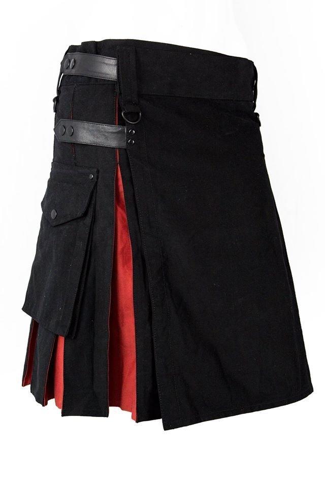 New Handmade Fashion Scottish Hybrid Black and Red Utility Cotton Kilt Size 54