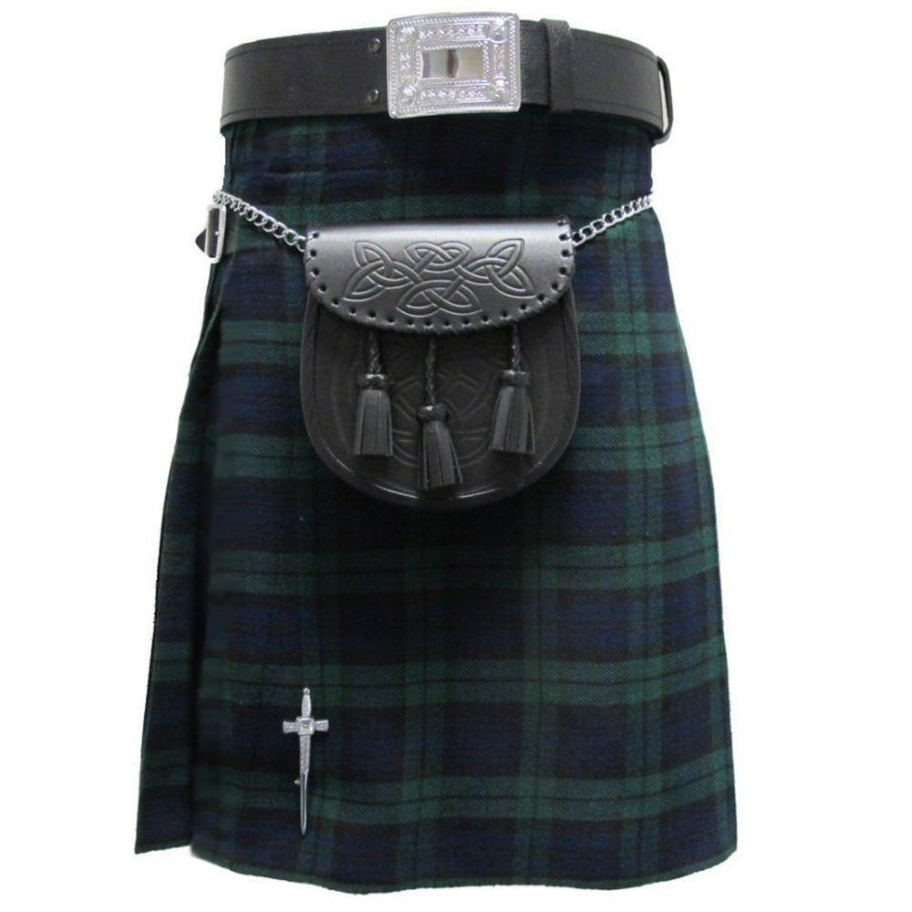 New DC Active men highlender traditional sports black watch tartan kilt size 30