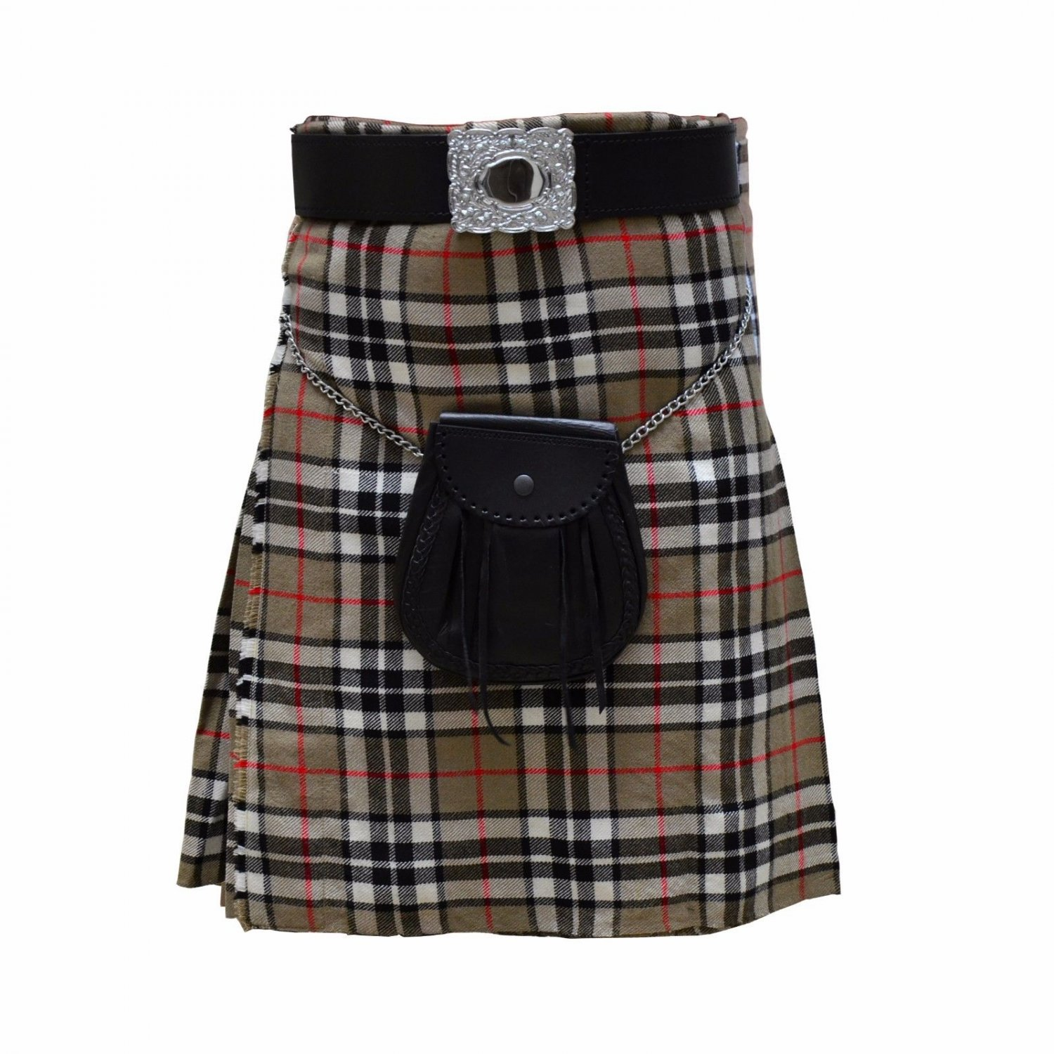 New DC Scottish Men Unisex Utility Sports Traditional Thomes Camel Tartan Kilt size 32