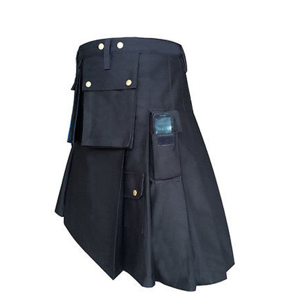 New DC Black Scottish Kilt highland Police Men utility Unisex Adult Handmade Cargo size 52