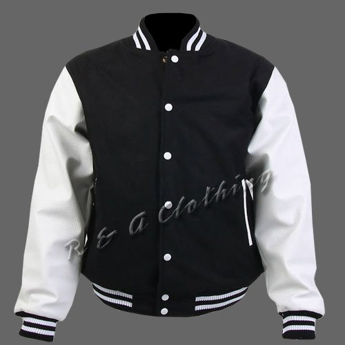 New R & A Black and White varsity jacket with Long Leather Sleeves size m