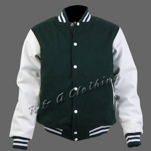 New R & A Green and White varsity jacket with Long Leather Sleeves size m