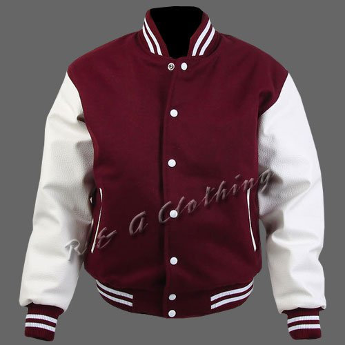 New R & A Maroon and White varsity jacket with Long Leather Sleeves size xl