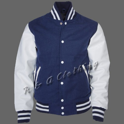 New R & A Navy and White varsity jacket with Long Leather Sleeves size l