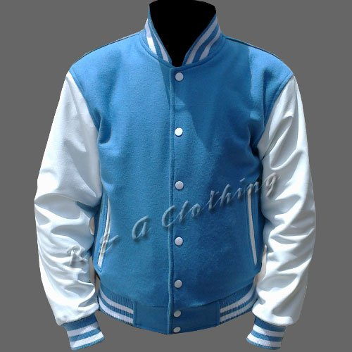 New R & A Sky Blue and White varsity jacket with Long Leather Sleeves size xs
