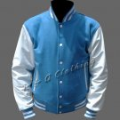 New R & A Sky Blue and White varsity jacket with Long Leather Sleeves size s