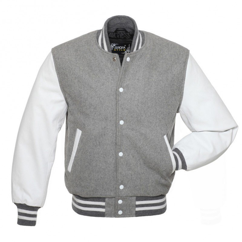New DC Letterman Grey wool white leather  sleeves varsity jacket size 2xl