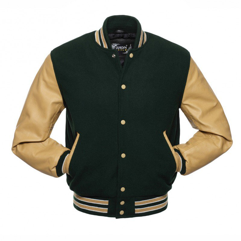 New DC Letterman Green wool Gold leather  sleeves varsity jacket size l