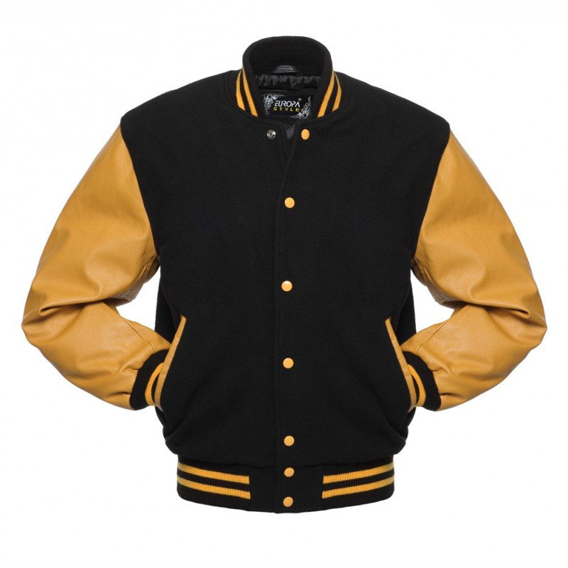 New DC Letterman Black wool Yellow leather  sleeves varsity jacket size m