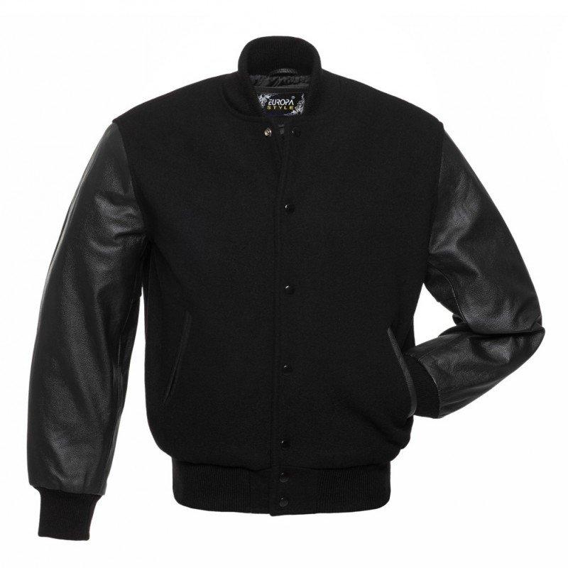 New DC Letterman Black wool Black leather  sleeves varsity jacket size xs