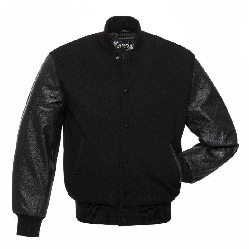 New DC Letterman Black wool Black leather  sleeves varsity jacket size m