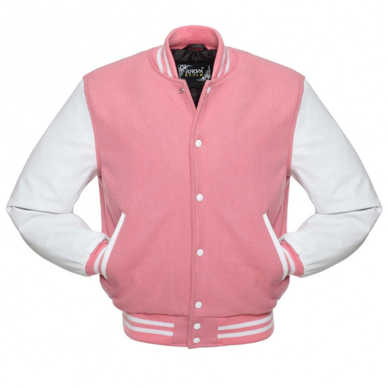 New DC Letterman Pink wool White leather  sleeves varsity jacket size l
