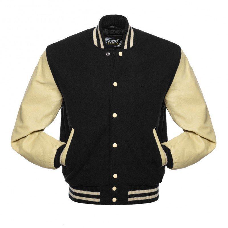 New DC Letterman Black wool Off White leather  sleeves varsity jacket size m