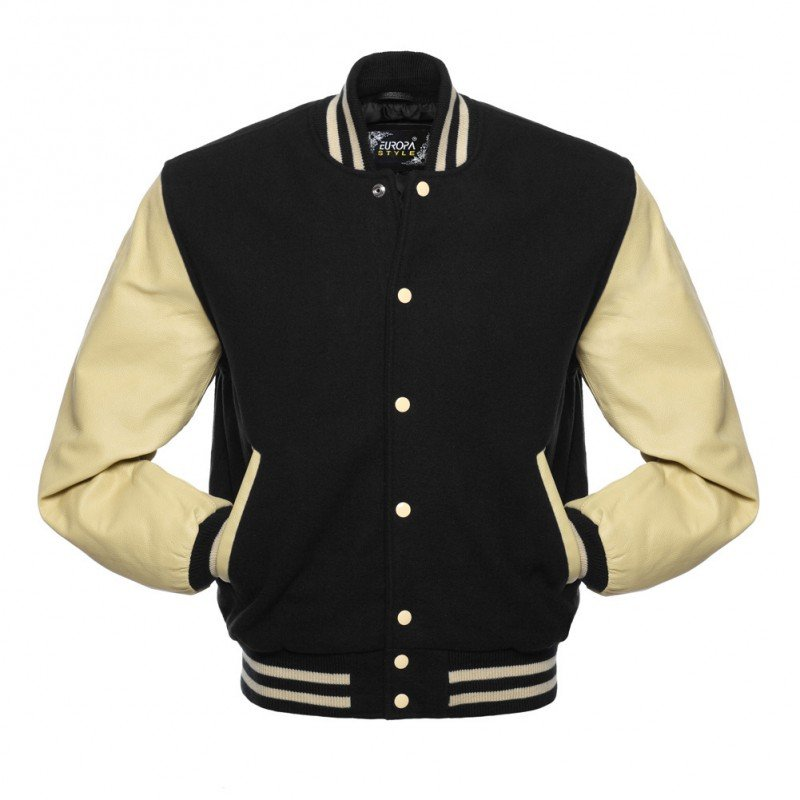 New DC Letterman Black wool Off White leather  sleeves varsity jacket size l