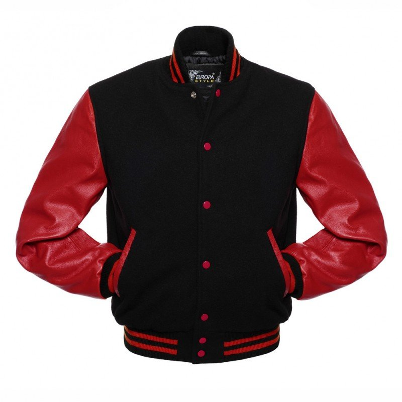 New DC Letterman Black wool Red leather  sleeves varsity jacket size m