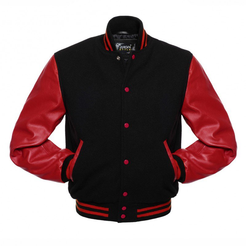 New DC Letterman Black wool Red leather  sleeves varsity jacket size l