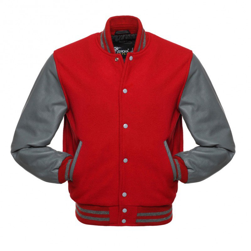 New DC Letterman Red wool Silver leather  sleeves varsity jacket size l