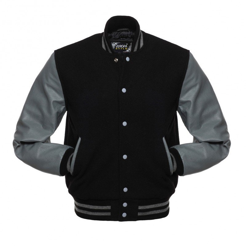 New DC Letterman Black wool Grey leather  sleeves varsity jacket size xl