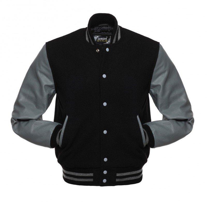 New DC Letterman Black wool Grey leather  sleeves varsity jacket size 3xl