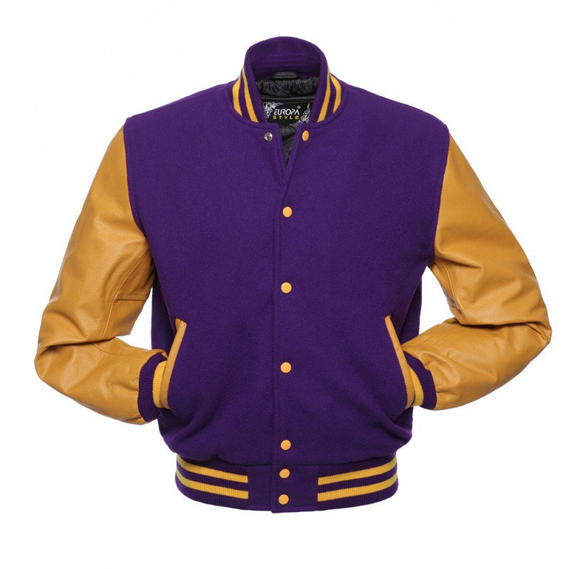 New DC Letterman Purple wool Yellow leather  sleeves varsity jacket size l