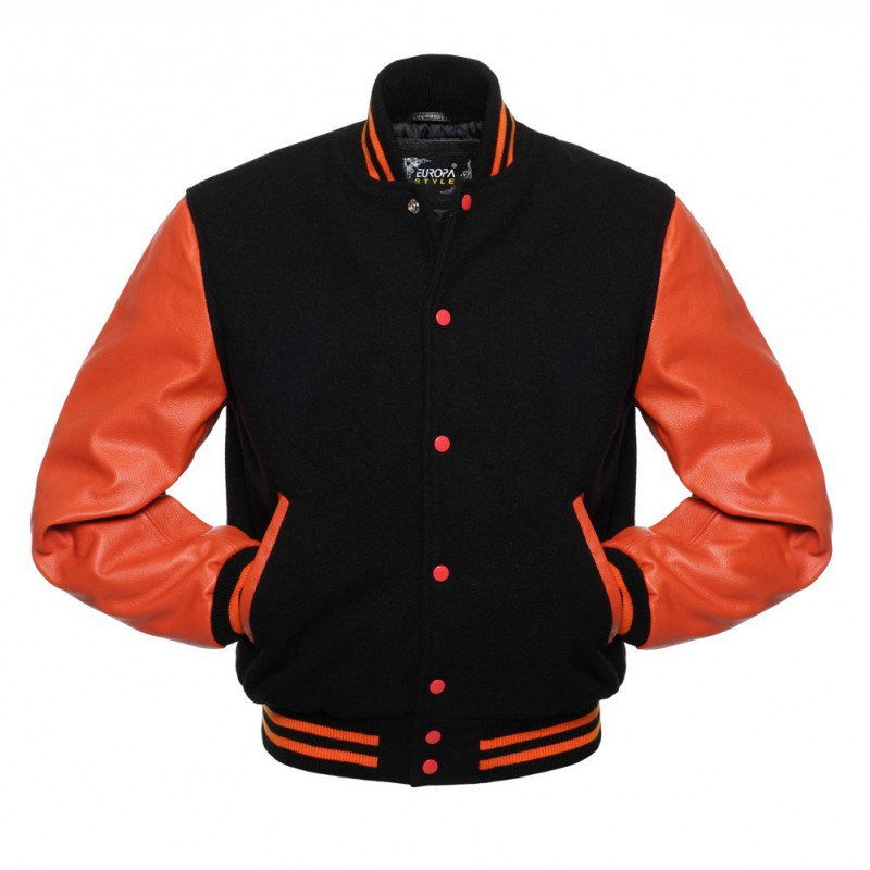 New DC Letterman Black wool Orange leather  sleeves varsity jacket size l
