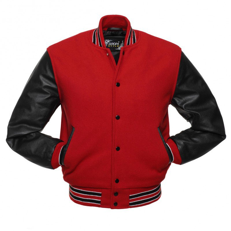 New DC Letterman Red wool Black leather  sleeves varsity jacket size l