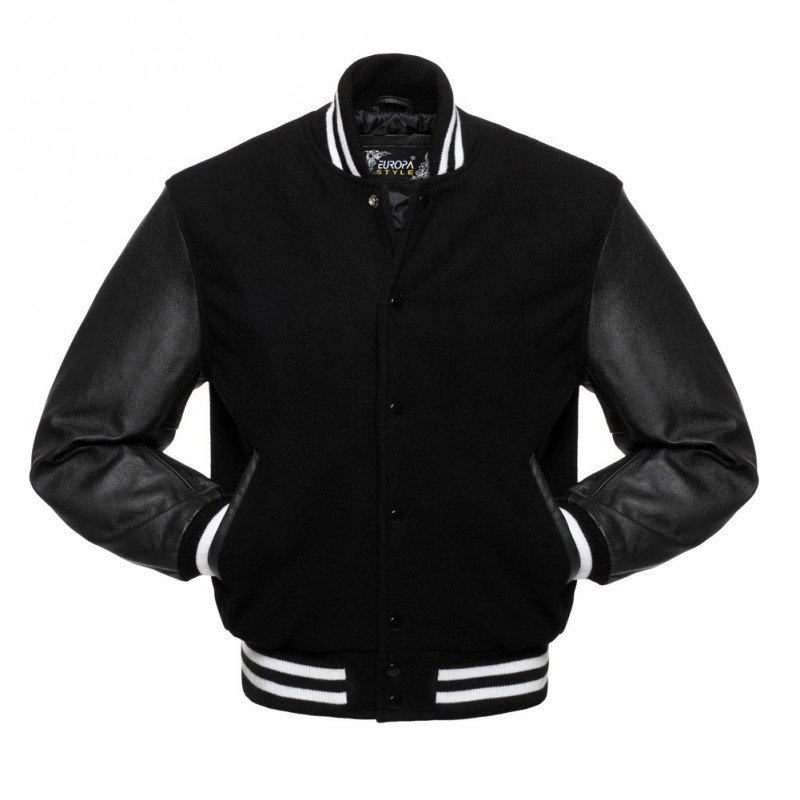 New DC Letterman Black wool Black leather sleeves varsity jacket size xs
