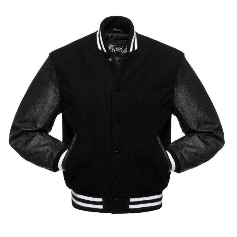 New DC Letterman Black wool Black leather sleeves varsity jacket size s