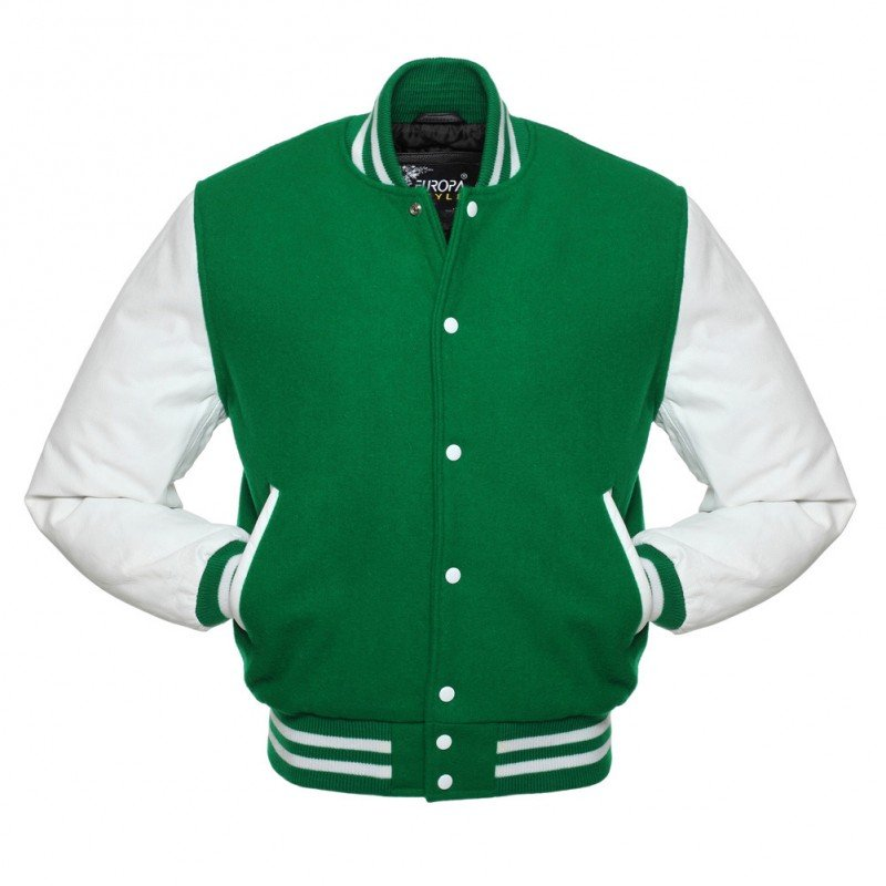 New DC Letterman Green wool White leather sleeves varsity jacket size s