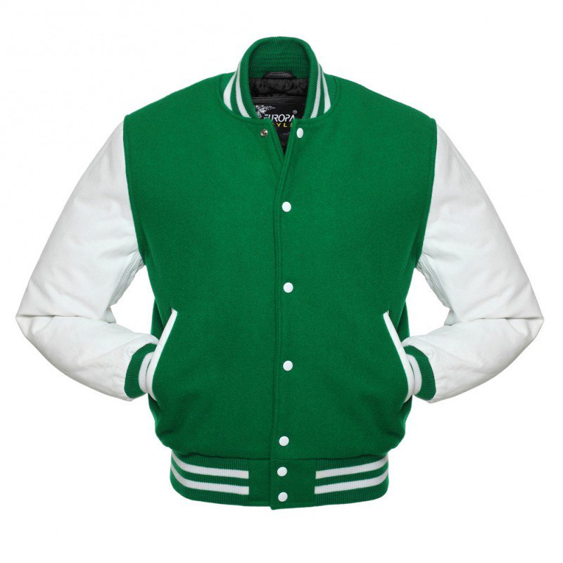New DC Letterman Green wool White leather sleeves varsity jacket size l