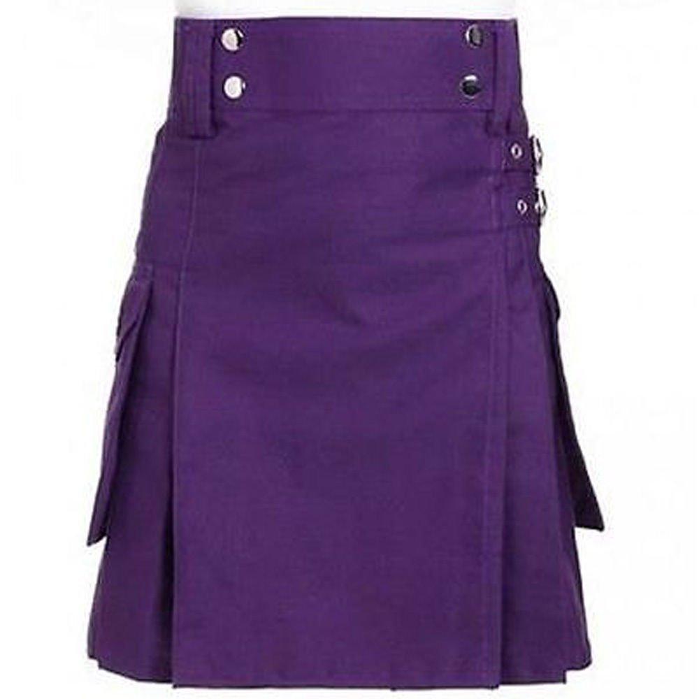 New DC active highlander style modern music women purple ladies cotton kilt size 34