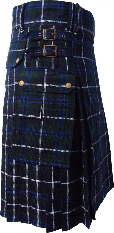 New DC active highlander  modern music Douglas utility tartan kilt size 38