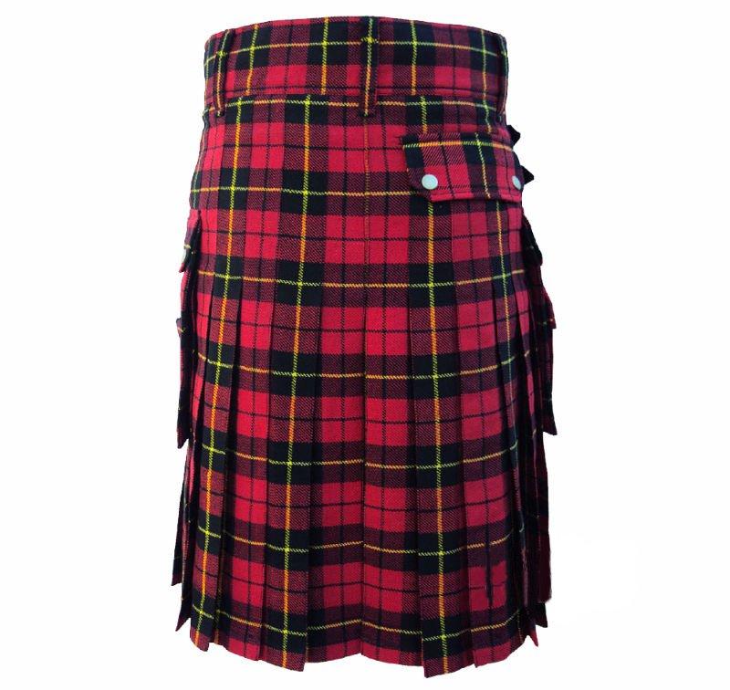 DC Scottish Highland Active Men Modern Pocket Wallace Tartan Utility Kilt size 52