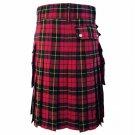 DC Scottish Highland Active Men Modern Pocket Wallace Tartan Utility Kilt size 54