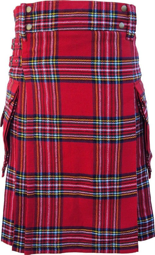 DC Scottish Highland Active wear Men Royal stewart Modern utility pocket kilt size 48