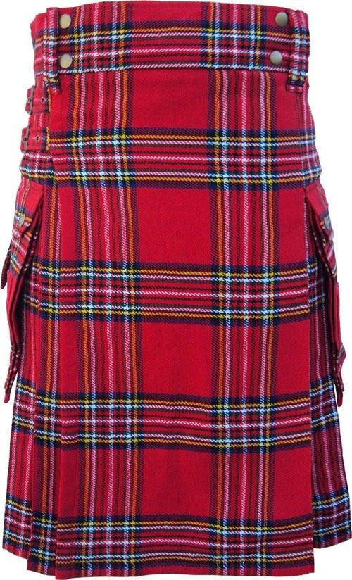 DC Scottish Highland Active wear Men Royal stewart Modern utility pocket kilt size 52