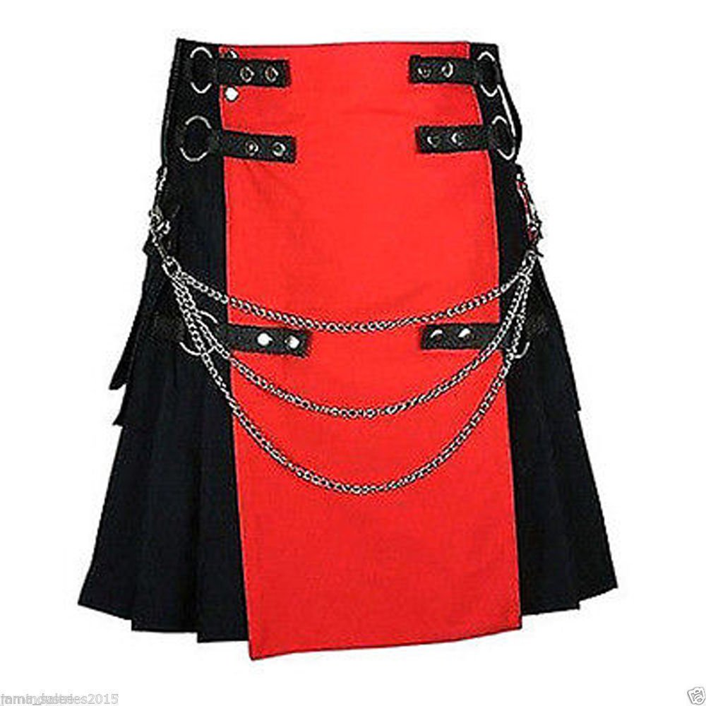 DC Men's handmade Red/Black Deluxe Utility Fashion Kilt 100% Cotton size 48
