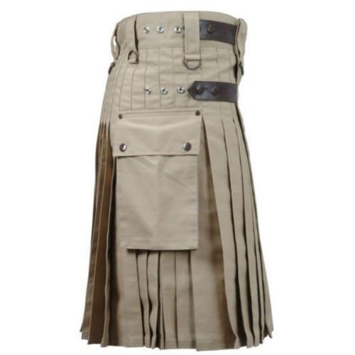 DC  active men highlander  Khaki cotton  utility Wedding kilt size 42