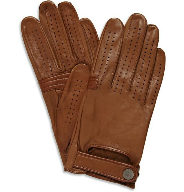 New DC 008 Men's Warm Brown Leather Warm Motorcycle Winter Driving Gloves Size M