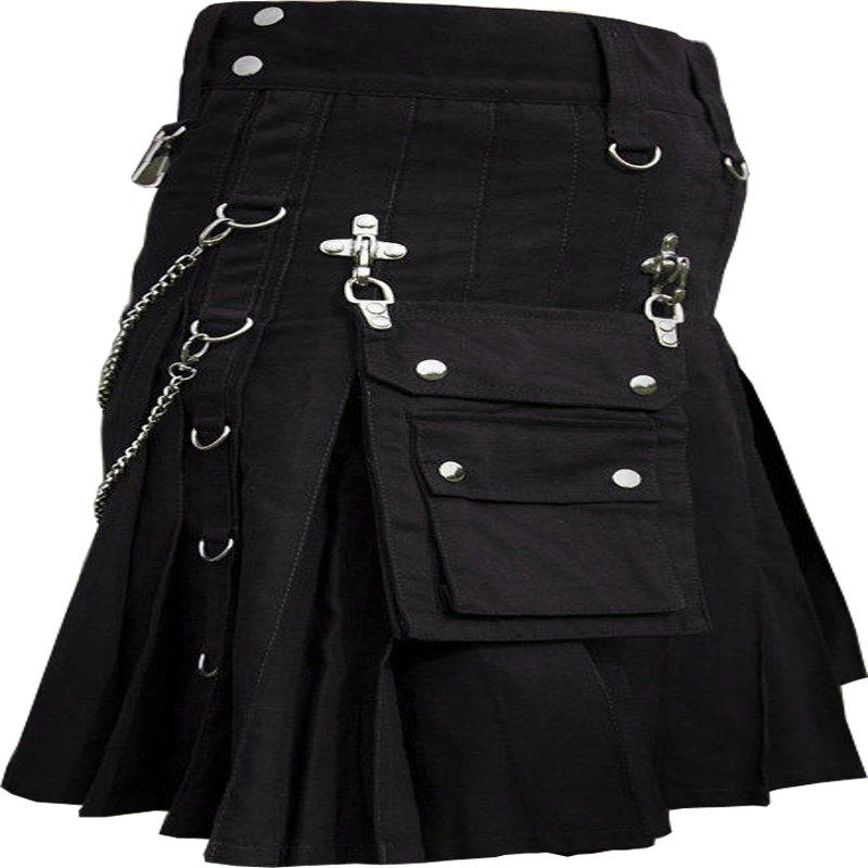 DC Scottish Black Wedding Kilt Men Modern Utility Kilt Men Chain sell a lot size 48