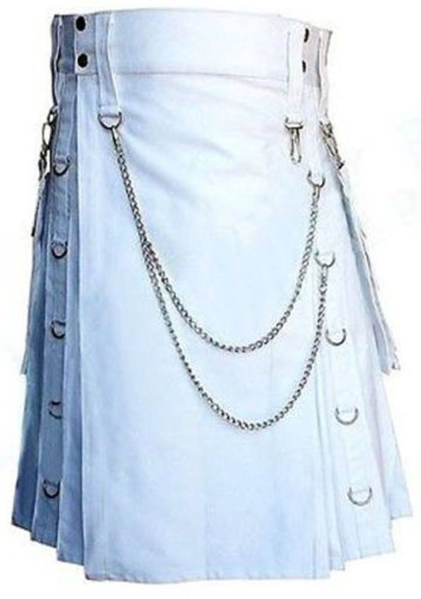 DC Traditional Wedding White Scottish Modern Utility Kilt Handmade 100% Cotton Size 48