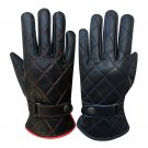 New DC b77 Men's Warm Black Leather Warm Motorcycle Winter Driving Gloves Size l