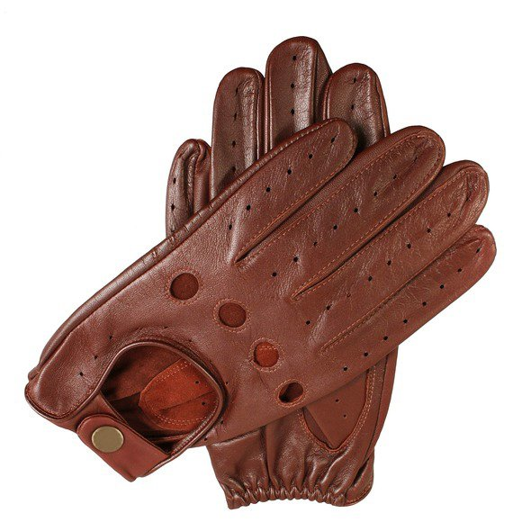 New DC g772 Men's  Brown Lamb Skin Leather Fashion Driving Gloves Size l