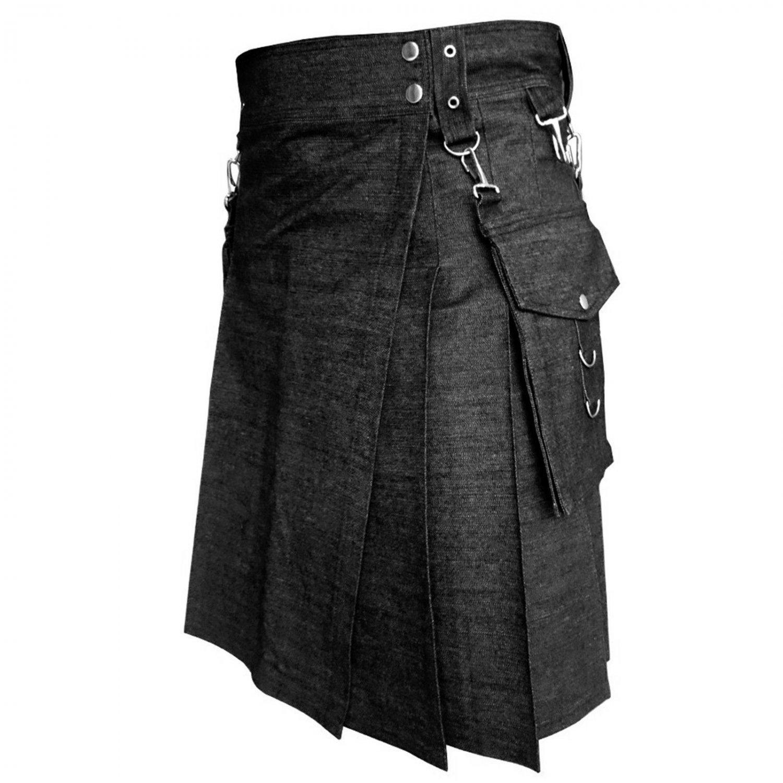 New DC Black Denim detachable Pocket Kilt size 40