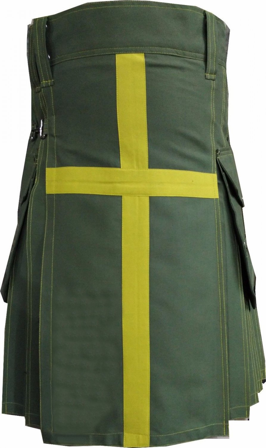 NEW DC ACTIVE MEN OLIVE GREEN AND YELLOW HANDMADE UNISEX COTTON UTILITY KILT SIZE 34