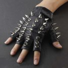 Men's Skull Stud Biker Punk Driving Motorcycle Finger less Leather Gloves Size L