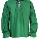 Men Green Scottish Highland Jacobean Jacobite Shirt, Gillie Kilt Shirt Size L