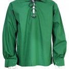 Men Green Scottish Highland Jacobean Jacobite Shirt, Gillie Kilt Shirt Size XL
